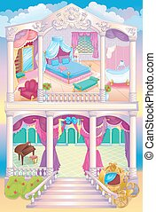 Fairytale Luxury Princess House - Vector illustration of...