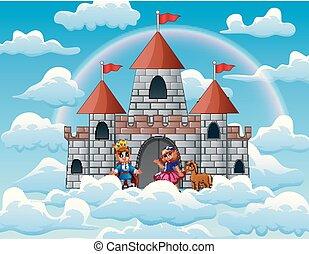 fairytale, nubi, principessa, palazzo, principe