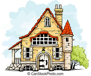 fairytale old house in retro style vector illustration...