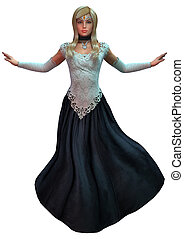 Fairytale Princess - 3D digital render of a beautiful fairy...