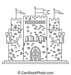 Fairytale royal thin line castle or palace building