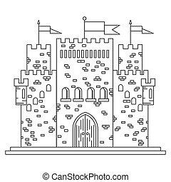 Fairytale royal thin line castle or palace building