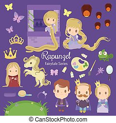 cute characters illustrations from the story rapunzel