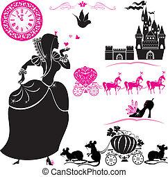 fairytale, set, -, silhouette, di, cinderella, zucca, carrello, con, acchiappa topi, castello, e, clock.
