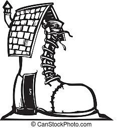 Fairytale Shoe House - Fairytale woodcut style image of a...
