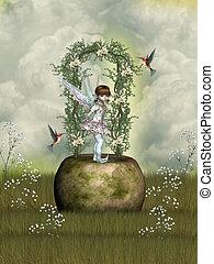 fairytale scene with flowers stone and hummingbird