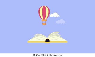 fairytale text book with balloon air hot