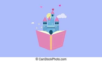 fairytale text book with castle