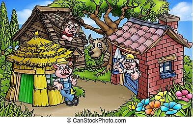 Fairytale The Three Little Pigs Cartoon Scene