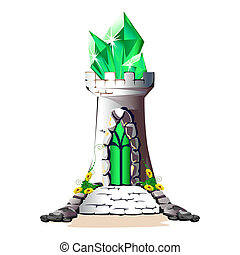 fairytale, torre, con, cristalli