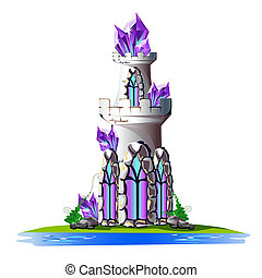 Fairytale tower with crystals