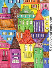 Fairytale town drawing