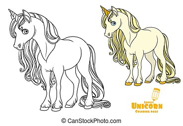 Fairytale unicorn color and outlined picture for coloring book on white background