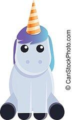 Fairytale unicorn icon, cartoon style
