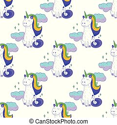 Fairytale unicorn seamless pattern