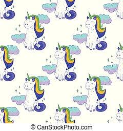 Fairytale unicorn seamless pattern