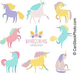Fairytale unicorn set. Rainbow color girlish pony unicorns...