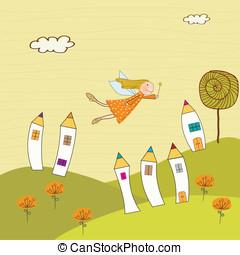 fairytale, vector, illustratie