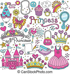 fairytale, vector, prinsessenkroon, set, prinsesje