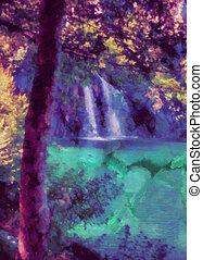 Fairytale waterfall - Digital watercolor colorful natural...