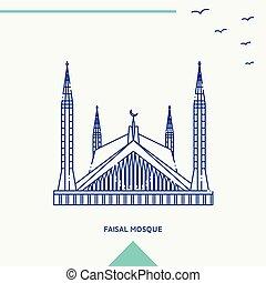 faisal, vetorial, mesquita, skyline, ilustração