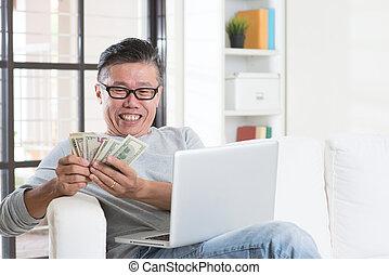 faisant argent, business, ligne