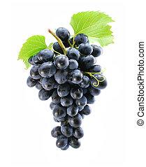 faisceau bleu, raisin, isolé
