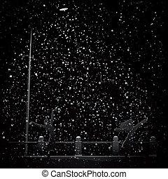 faisceau, light., chute neige, nuit