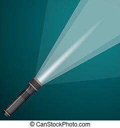 faisceau lumière, depuis, a, flashlight., noir, metal.