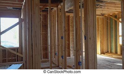 faisceau, nouveau, construction, encadrement, maison, maison, sous
