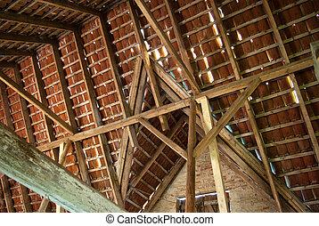 faisceau, plafond, bois, vieux