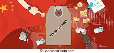 fait, échange, argent, drapeau international, commerce, importation, porcelaine, exportation