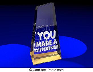fait, 3d, récompense, appréciation, illustration, vous, différence, reconnaissance, remerciement