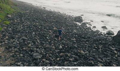 fait, aérien, manière, promenades, dur, haut, canari, grand, spain., noir, ocean., tenerife, seul, atlantique, long, stones., plage, îles, homme
