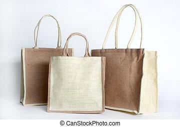 fait, achats, recyclé, sac, sac, hessian, dehors