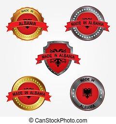fait, albania., illustration, étiquette, vecteur, conception