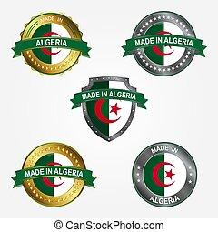 fait, algeria., illustration, étiquette, vecteur, conception