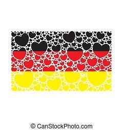 fait, allemand, flag., drapeau, allemagne, hearts.