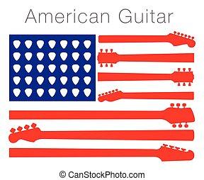 fait, américain, guitare, drapeau, parties, dehors