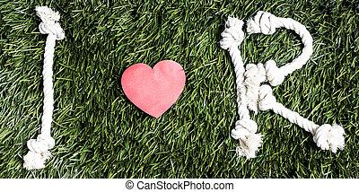 fait, amour, cordes, arrière-plan., r, text:, herbe