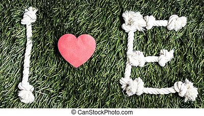 fait, amour, cordes, arrière-plan., text:, e, herbe