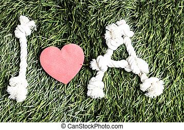 fait, amour, cordes, arrière-plan., text:, herbe