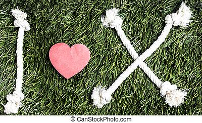 fait, amour, cordes, arrière-plan., text:, x, herbe