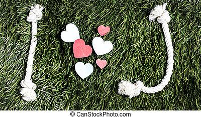 fait, amour, cordes, j, arrière-plan., text:, herbe