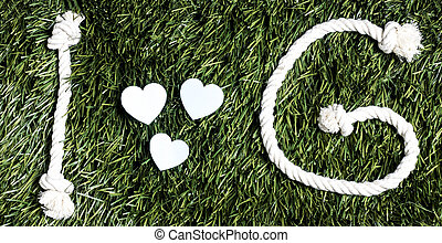 fait, amour, g, cordes, arrière-plan., text:, herbe
