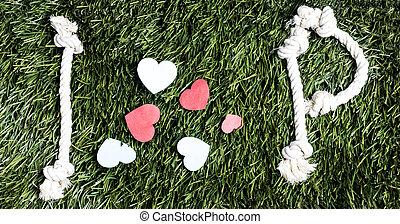 fait, amour, p, cordes, arrière-plan., text:, herbe