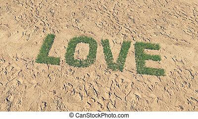 fait, amour, texte, 1, frais, herbe