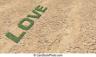 fait, amour, texte, 2, frais, herbe