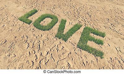 fait, amour, texte, 3, frais, herbe
