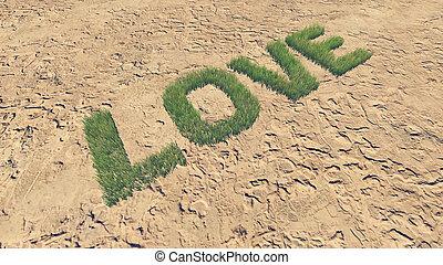fait, amour, texte, 4, frais, herbe